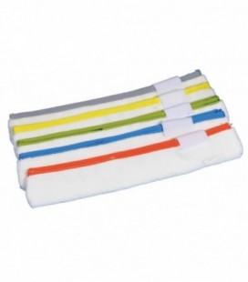 Ricambio Vello Microfibra Bianca con Bordo Colorato Chiusura Velcro