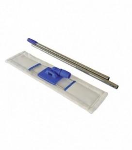 Scopa a frange in microfibra, doppia tasca completa di telaio e manico cromato con 2 pezzi